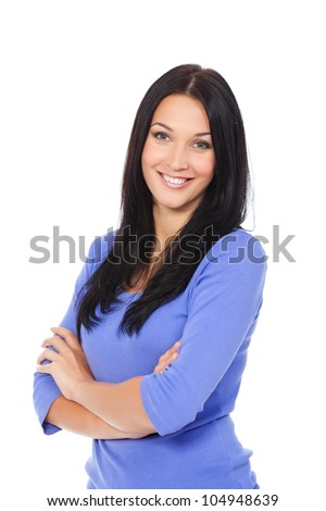 pretty excited woman happy smile, young attractive girl portrait stand folded hands wear shirt, looking at camera toothy smiling isolated over white background - stock photo