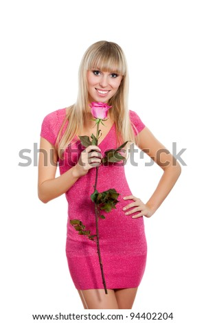 pretty excited woman happy smile, young girl wear pink dress hold rose, isolated over white background - stock photo