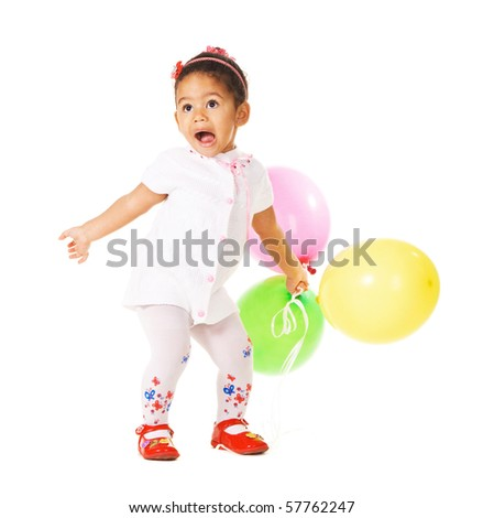 Pretty expressive little girl with colorful balloons on white - stock photo
