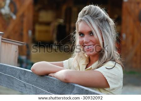 Pretty Farm Girl - stock photo