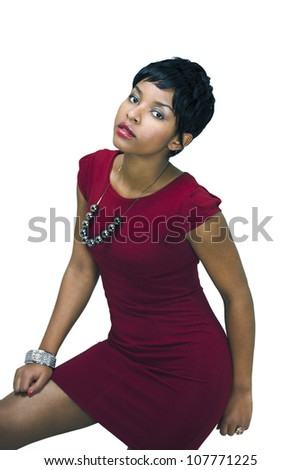 Pretty fashion model in short red dress - stock photo