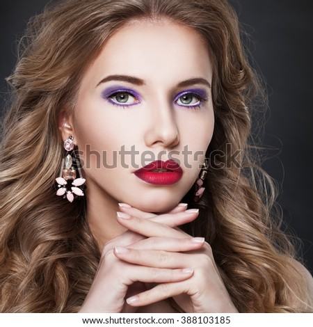 Pretty Fashion Model Woman with Earrings - stock photo
