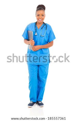 pretty female african medical nurse holding clipboard - stock photo