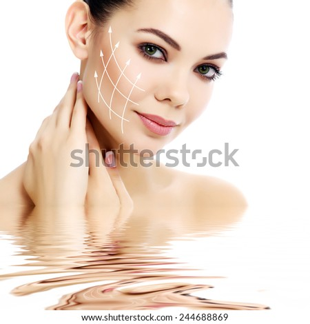 Pretty female against a white background, isolated, copyspace  - stock photo