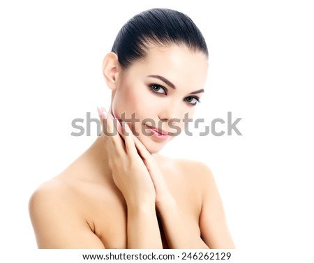 Pretty female against a white background, isolated, copyspace.  - stock photo
