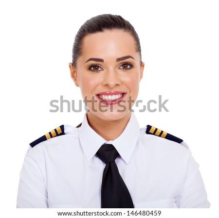 pretty female airline pilot closeup portrait isolated on white - stock photo