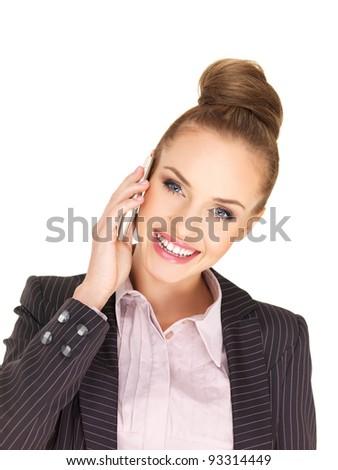 Pretty female businesswoman talking mobile phone - stock photo