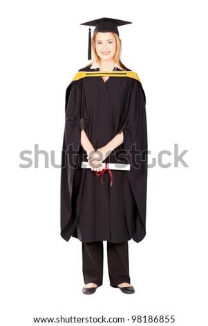 pretty female college graduate in gown and cape on white - stock photo