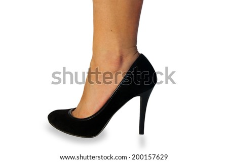 pretty female legs with black high heels on white background - stock photo