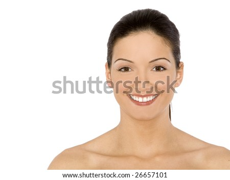 pretty female model smilling on white isolated background
