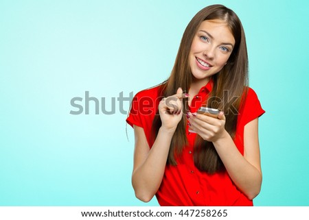 pretty female teenager using smartphone