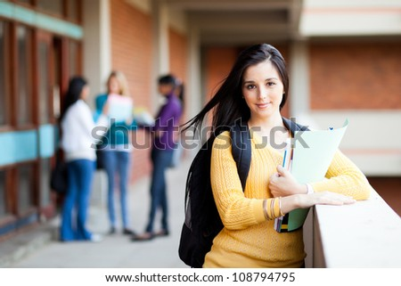 pretty female university student portrait - stock photo