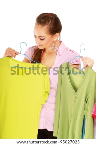 pretty females looking at smart dress - stock photo