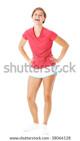 Pretty, fit, young woman isolated on white, from a complete series of photos.