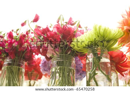 pretty flowers in mason jars - stock photo