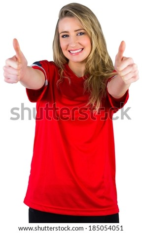 Pretty football fan in red on white background