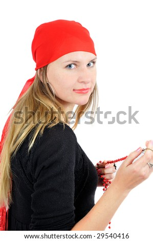Pretty fortune-teller in red bandana, isolated on white - stock photo