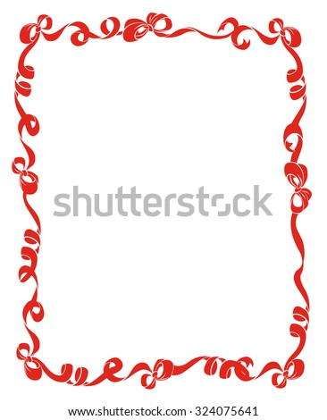 Pretty frame or border of red curled ribbons and bows isolated on white