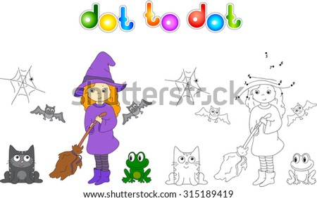 Pretty friendly witch with a broomstick, bats, black cat and frog. Connect dots and get image. Educational game for kids.