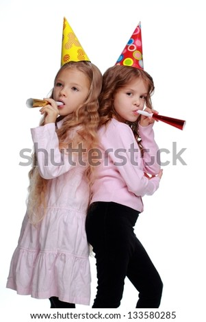 Pretty funny kids playing on white background