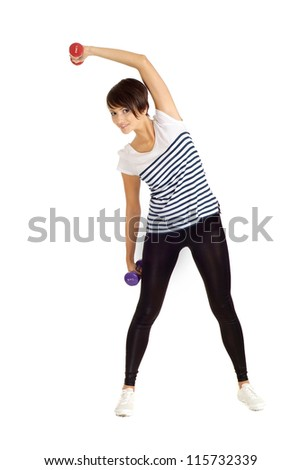 Pretty girl at the gym on a white background - stock photo