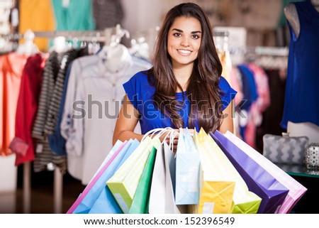 Beautiful Latin Woman Carrying Many Shopping Stock Photo 152396627 ...