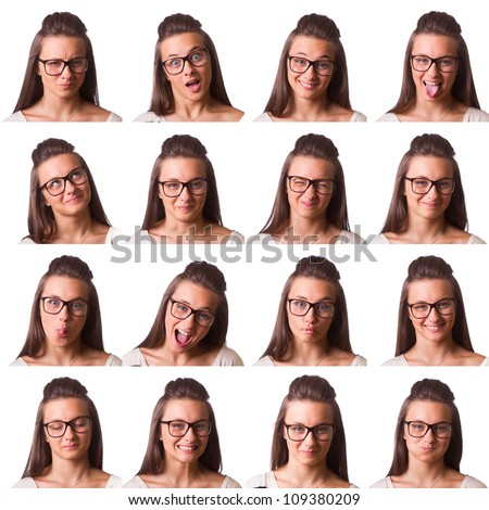 Pretty Girl Collection of Expressions - stock photo