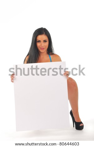 Pretty girl crouching with Blank sign board