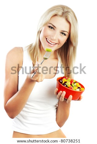 Pretty girl eating fruits, healthy fresh breakfast, dieting and health care concept - stock photo