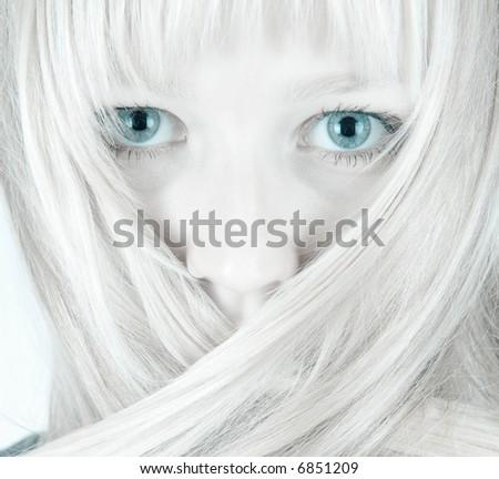 Pretty girl feeling cold closeup portrait - stock photo