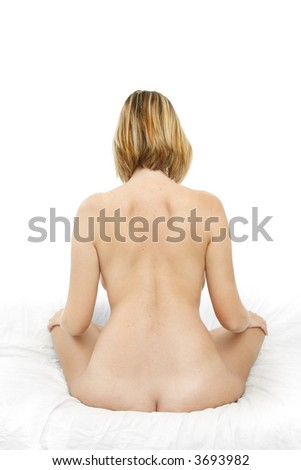 Pretty girl from behind with white background