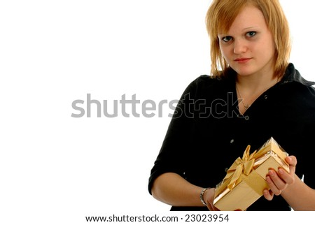 Pretty Girl gives or gets a gift - stock photo