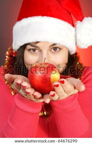 pretty girl giving an apple - stock photo