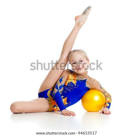 pretty girl gymnast with yellow ball - stock photo