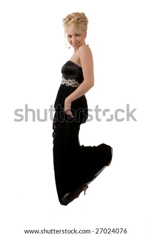 Pretty Girl Having Fun In Her Prom Gown - stock photo