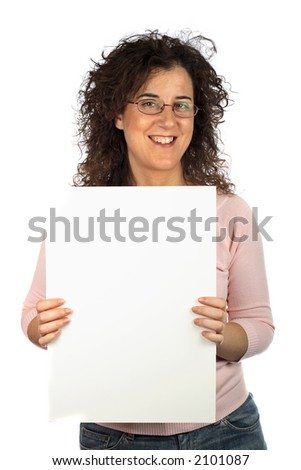 Pretty girl holding advertising space