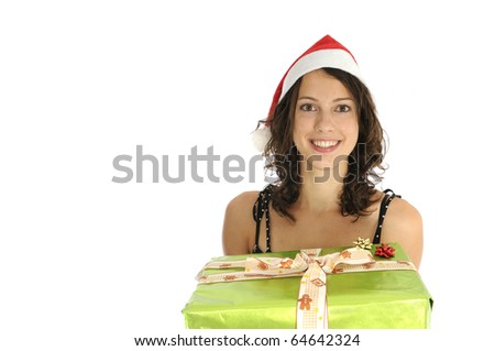 Pretty girl holding christmas presents isolated on white background - stock photo