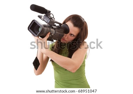 pretty girl holding HDV camcorder isolated on white - stock photo