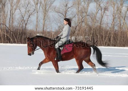 Pretty girl horseback riding - stock photo