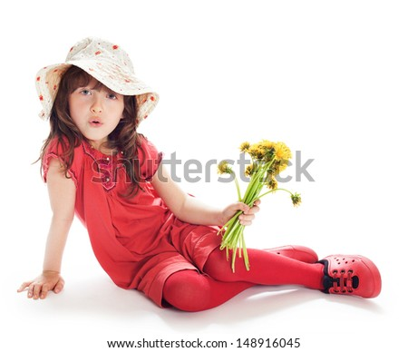 Pretty girl in a red summer dress and hat, isolated on white background - stock photo