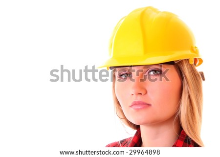 pretty girl  in a yellow building helmet isolated on white