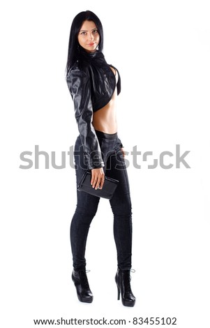 Pretty girl in black jacket smiling