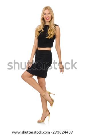 Pretty girl in black mini dress isolated on white - stock photo