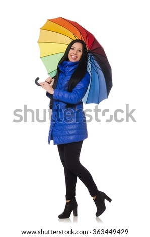Pretty girl in blue winter jacket isolated on white - stock photo