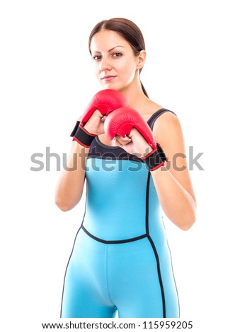 Pretty girl in boxing gloves pose, isolated on white - stock photo