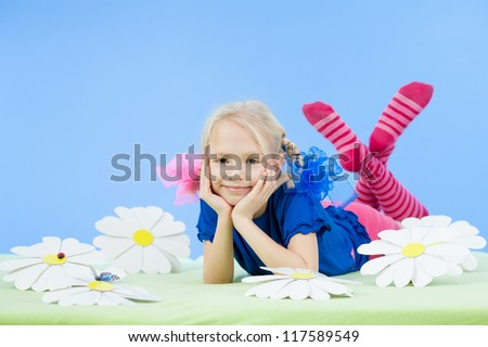 pretty girl in bright clothing or fancy dress - stock photo