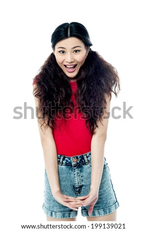 Pretty girl in fashionable attire - stock photo