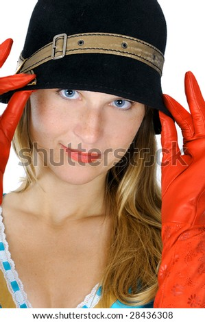 Pretty girl in hat and gloves, isolated on white - stock photo