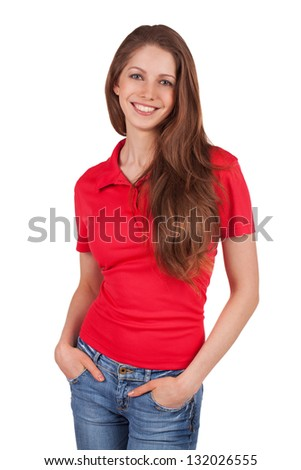 Pretty girl in jeans and a red T-shirt - stock photo