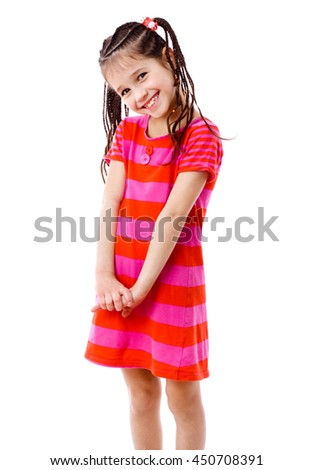 Pretty girl in pink dress - stock photo